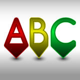 ABC pins in red, yellow and green. The letters ABC in the shape of arrows can be used as markers in the creative documents Royalty Free Stock Photography