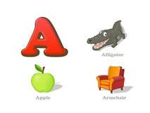 ABC pisze list A dzieciaka śmieszne ikony ustawiać: aligator, jabłko, karło royalty ilustracja