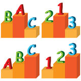 ABC 123 platform. Illustration set ABC 123 platform white background graphic element Stock Photo
