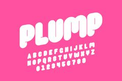 Plump font. Design, thick alphabet letters and numbers stock illustration