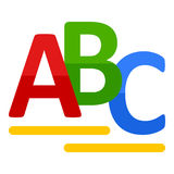 ABC pone letras al icono plano aislado en blanco Imagen de archivo
