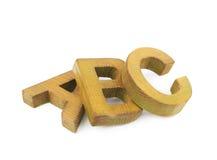 ABC pone letras a la composición aislada Imagen de archivo