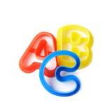 ABC pone letras a las formas aisladas Fotos de archivo
