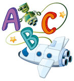 ABC poster with robot and spaceship Royalty Free Stock Photo