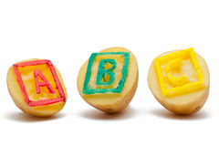 ABC potato stamps Stock Photos