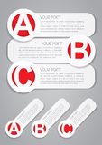 ABC Progress Labels in White. Simple and clear ABC progress labels ideal for webdesign and presentations in vectors royalty free illustration