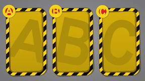 ABC Progress Warning Templates. Very useful progressive ABC labels ideal for security and warning instructions Stock Illustration