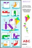 ABC que aprende o enigma educacional - rotule K (o papagaio) Imagem de Stock