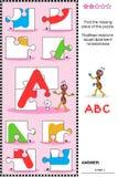 ABC que aprende rompecabezas educativo con la letra A Imagen de archivo