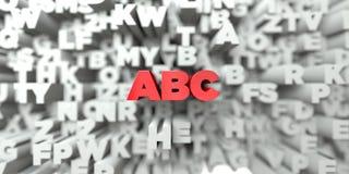 abc - Röd text på typografibakgrund - 3D framförde fri materielbild för royalty Arkivfoton