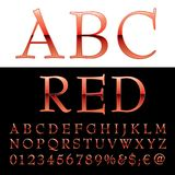 Abc red letters. Red alphabet, red letters, vector illustration Stock Photography