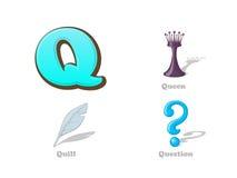 ABC rotula os ícones engraçados da criança de Q ajustados: rainha, pena, pergunta alpes Imagem de Stock