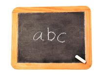 ABC's. Chalkboard with abc written on it royalty free stock photo