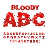 ABC sangriento Letra líquida roja El lettring flúido Fuente de la sangre del sca libre illustration