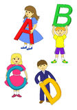 ABC. School children, boys and girls with the letters in hand on white background Royalty Free Stock Photography