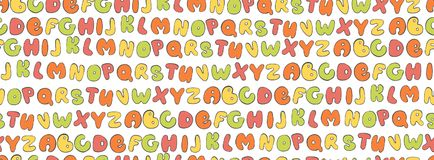 Abc seamless pattern. Colorful Letter background. Cartoon kids font for printing. Vektor Royalty Free Stock Photography