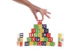 ABC segna i blocchi con lettere Fotografie Stock Libere da Diritti