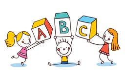 ABC segna l'istruzione con lettere dei bambini Immagini Stock