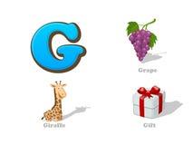 ABC segna le icone con lettere divertenti del bambino di G messe: uva, giraffa, regalo Fotografie Stock Libere da Diritti