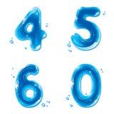 ABC serie 4 5 6 (0) - Wodne Ciekłe Liczby - Fotografia Stock