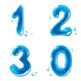 ABC-Serie - wässern Sie flüssige Zahlen - 1 2 3 0 Stockbilder