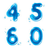 ABC series - Water Liquid Numbers - 4 5 6 0. Liquid Numbers Gel Series on white background - Number Four, Five, Six, Zero - editable vector illustration - EPS8 Royalty Free Illustration