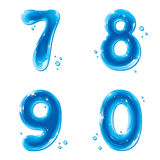 ABC series - Water Liquid Numbers - 7 8 9 0. Liquid Numbers Gel Series on white background - Number Seven, Eight, Nine, Zero - editable vector illustration Vector Illustration