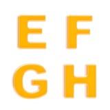 Abc set of four glossy orange plastic letters Stock Image