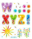 Abc set letters W - Z plus. Colorful decorated spring or summer alphabet set letters W - Z, marks of punctuation, design elements vector illustration