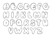 Abc. Sketch english alphabet. Line Letter. Black font for design. Vector Royalty Free Stock Image