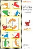 abc som lär det bildande pusslet med bokstav C Arkivfoto