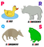 Abc5. Spanish alphabet with different animals: duck, armadillo, rhino and frog vector illustration