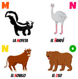 Abc4. Spanish alphabet with different animals: skunk, bull, nandu and bear Royalty Free Stock Photo