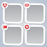 ABC, Square Progress Labels in white. Four clear and trendy frames or labels marked with the progressive system One, Two, Three and Star in white vector illustration