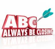 ABC sta chiudendo sempre le parole dell'obiettivo 3d che tendono l'Toro-occhio della freccia Fotografia Stock