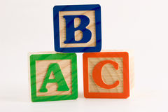 ABC stack. Alphabet blocks stacked in a triangle stock images