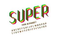 3d super thin font design stock illustration