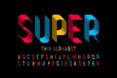 3d super thin font design vector illustration