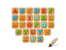ABC sur l'ensemble drôle d'enfant de blocs en bois Image libre de droits
