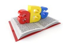 ABC text on open book. Isolated on white background. 3d illustration vector illustration
