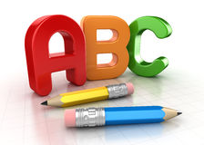 Abc text and pencil. This is a computer generated and 3d rendered picture Stock Photos