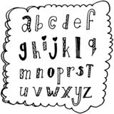 Abc text sign print fashion callirpaphy lettering , alphabet hand written brush custom unique drawing . doodle concept black isola. Ted on white stock illustration