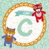 ABC-Tiere C ist Katze Das englische Alphabet der Kinder Vektor Lizenzfreie Stockfotografie