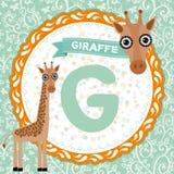 ABC-Tiere G ist Giraffe Das englische Alphabet der Kinder Vektor Stockbild