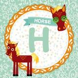 ABC-Tiere H ist Pferd Das englische Alphabet der Kinder Vektor Lizenzfreie Stockfotos