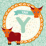 ABC-Tiere Y ist Yak Das englische Alphabet der Kinder Vektor Stockfotos
