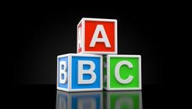 ABC toy blocks. On black background. 3d illustration Vector Illustration