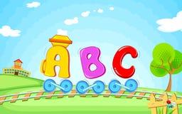 ABC train. Illustration of locomotive train made of abc vector illustration
