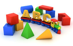 ABC train. Toy train with carriages and toy blocks on white background vector illustration