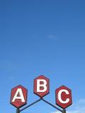 Abc undertecknar Fotografering för Bildbyråer